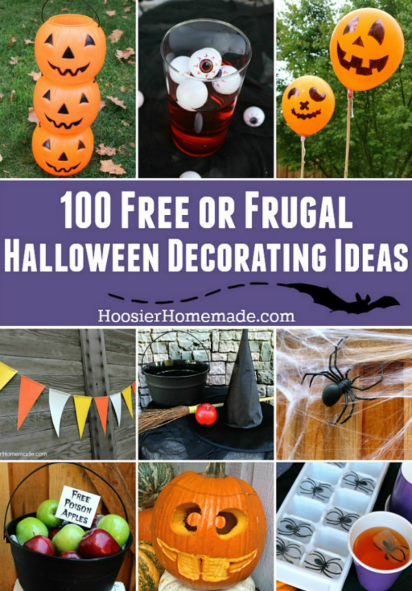 Decorating your home and creating a fun Halloween doesn't have to cost a lot of money! These 100 FREE or FRUGAL Halloween Decorating Ideas will help!