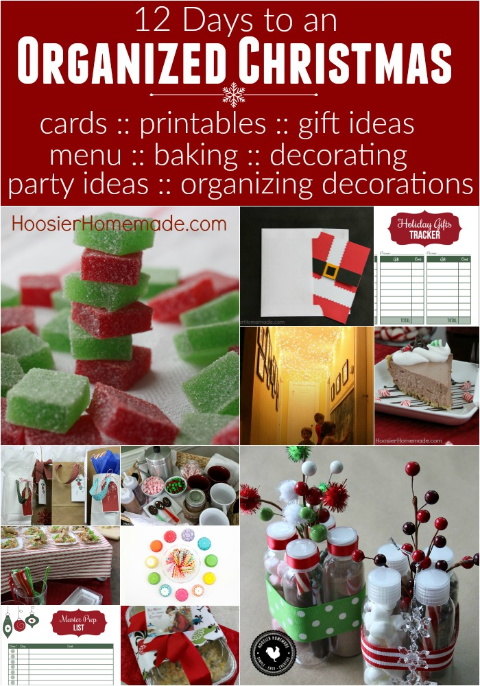 The holiday shouldn't be about the hustle and bustle. It's time to get organized and enjoy the holidays! These 12 Days to an Organized Christmas includes FREE Printables for to do list, menu planning, party ideas, handmade Christmas card, Christmas Recipes, Holiday Baking and much more!