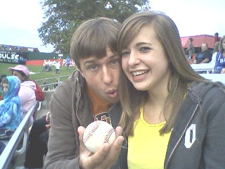 Nick and Brit.foul ball..2