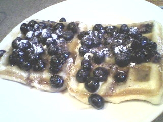 Waffles w blueberry sauce.2
