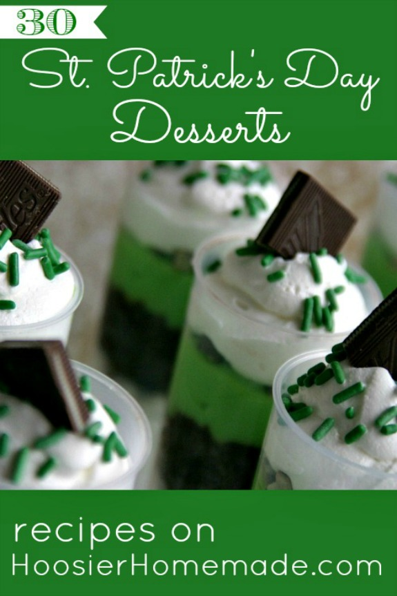 Whip up one of these St. Patrick's Day Desserts! Green desserts, Chocolate Mint and even Rainbow Treats that are all sure to bring a smile to your families face! Pin to your St. Patrick's Day Board!