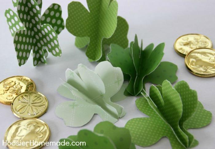3D Paper Shamrocks
