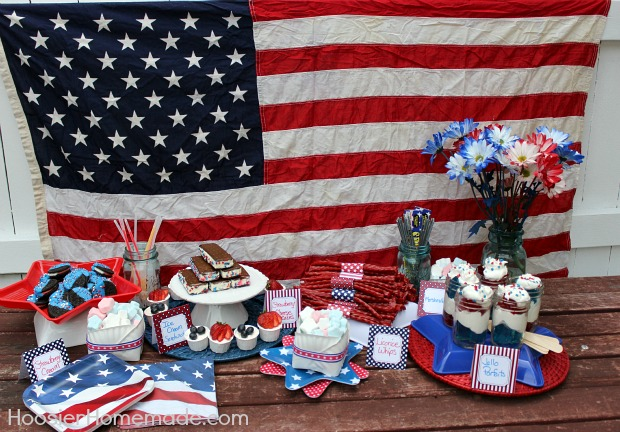 4th of July Dessert Bar: FREE Printables + Easy No Bake Treats :: Recipe on HoosierHomemade.com