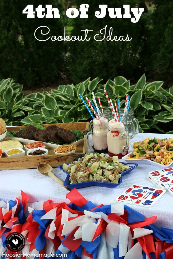 Whether you are planning a family cookout or a big Fourth of July Party, these 4th of July Cookout Ideas are sure to make everyone happy! They are easy, make-ahead and won't break the bank! Click on the photo for recipes and table decoration.