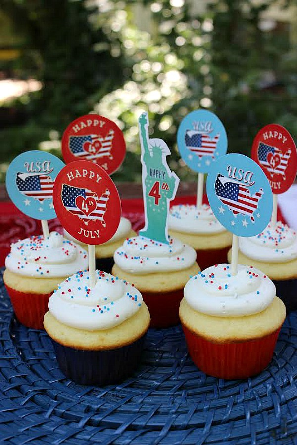 Printable 4th of July Cupcake Toppers