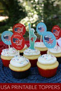 Printable USA Cupcake Toppers