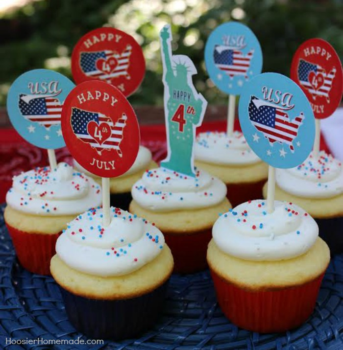 4th of July Cupcake Toppers.HH