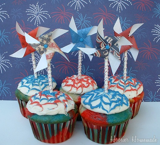 Fourth of July Tie Dye Cupcakes