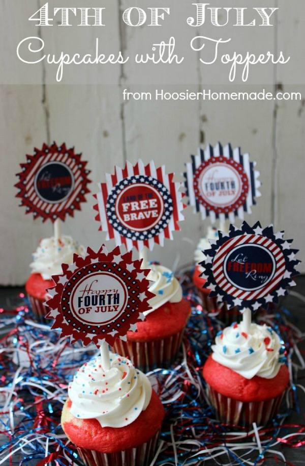 These easy to make Red, White & Blue Cupcakes are perfect for 4th of July! Add the FREE Printable 4th of July Cupcake Toppers for even more fun! Click on the photo to grab the recipe and get the FREE Printables!