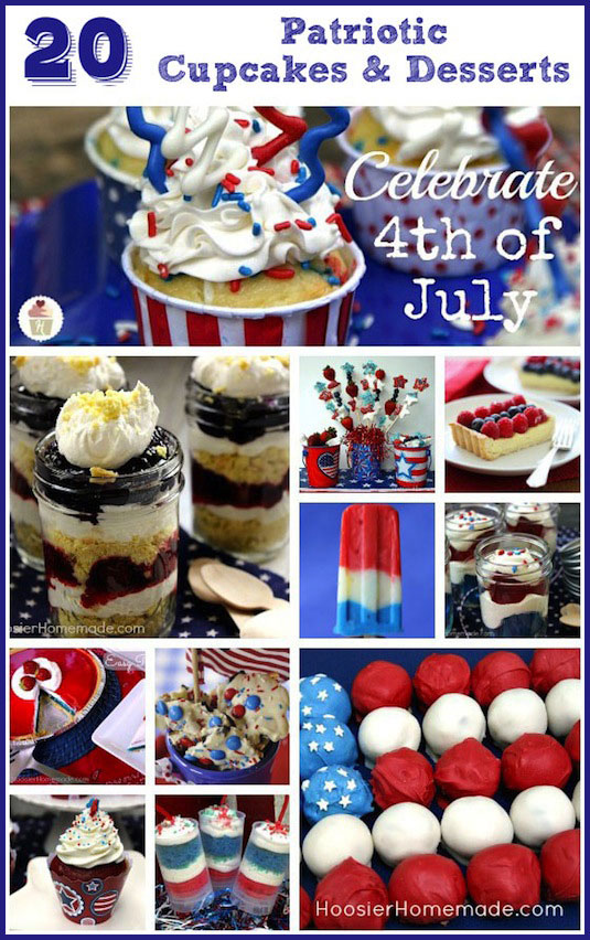 20 Cupcakes & Desserts for 4th of July :: on HoosierHomemade.com