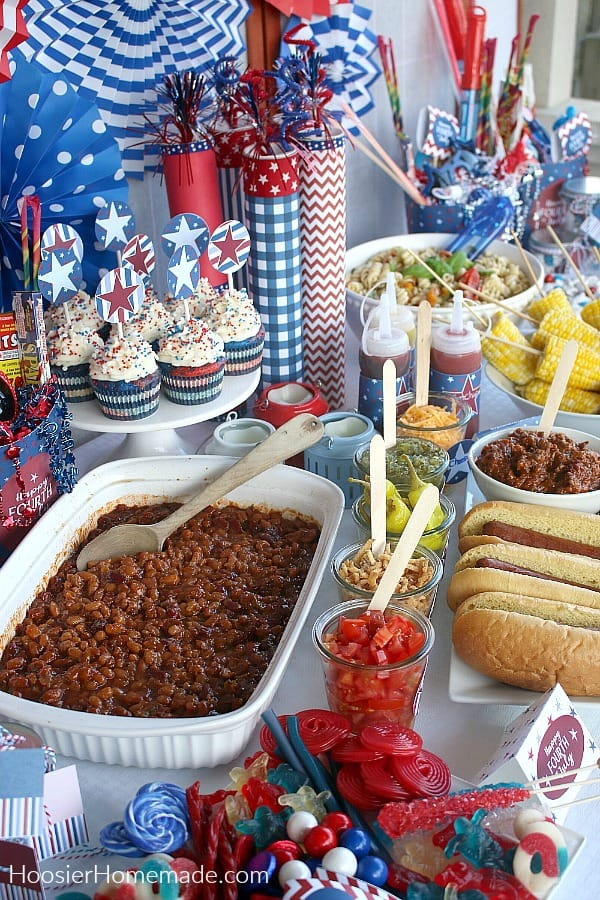 Baked Beans on 4th of July Table