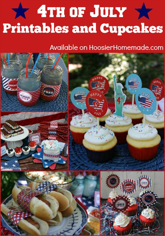 4th of July Printables and Cupcakes | FREE Printables and Cupcake Recipes on HoosierHomemade.com