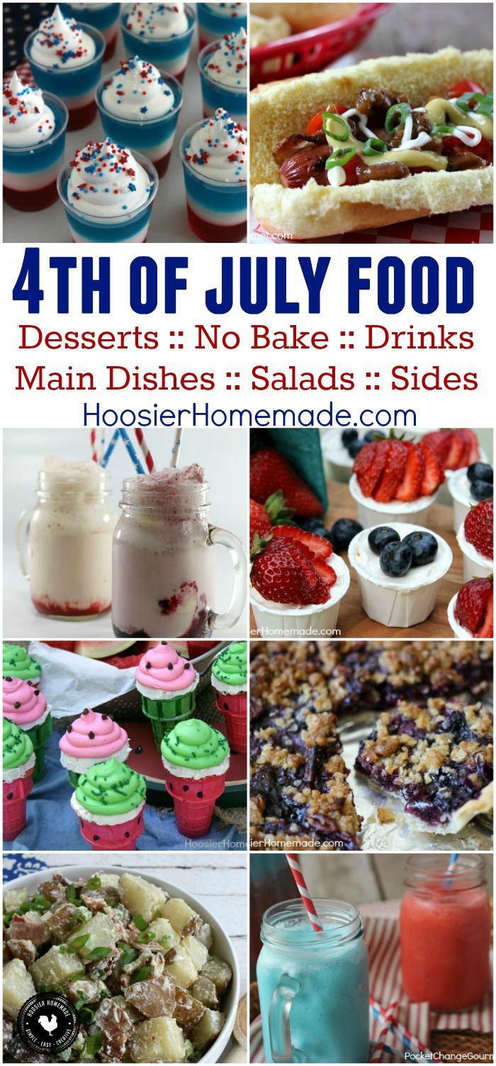 Celebrate 4th of July! These 4th of July Recipes are easy and budget friendly! Main Dishes, Salads, Sides, Desserts, No Bake Treats, Drinks and more! Click on the photo to grab a recipe and WOW your friends!