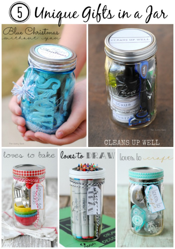 Create this fun holiday gift with a few simple supplies! Gifts in a Jar are perfect for just about everyone on your Christmas list! Visit our 100 Days of Homemade Holiday Inspiration for more recipes, decorating ideas, crafts, homemade gift ideas and much more!