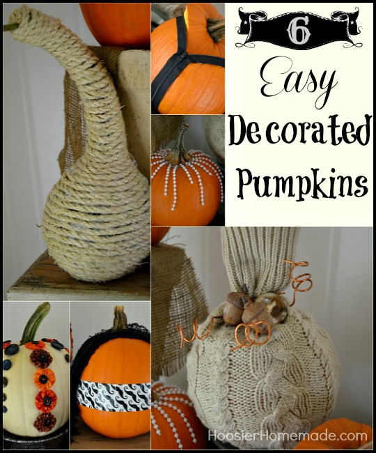 6 Easy Decorated Pumpkins :: Instructions on HoosierHomemade.com