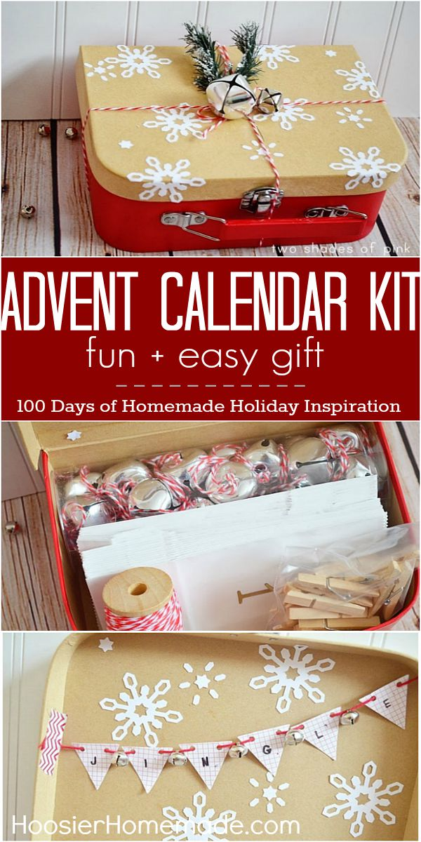 Put together this fun Advent Calendar Kit for your family or to give as a gift. Visit our 100 Days of Homemade Holiday Inspiration for more recipes, decorating ideas, crafts, homemade gift ideas and much more!