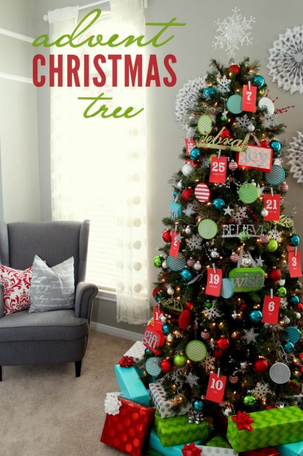 Advent Christmas Tree : 100 Days of Homemade Holiday Inspiration on HoosierHomemade.com