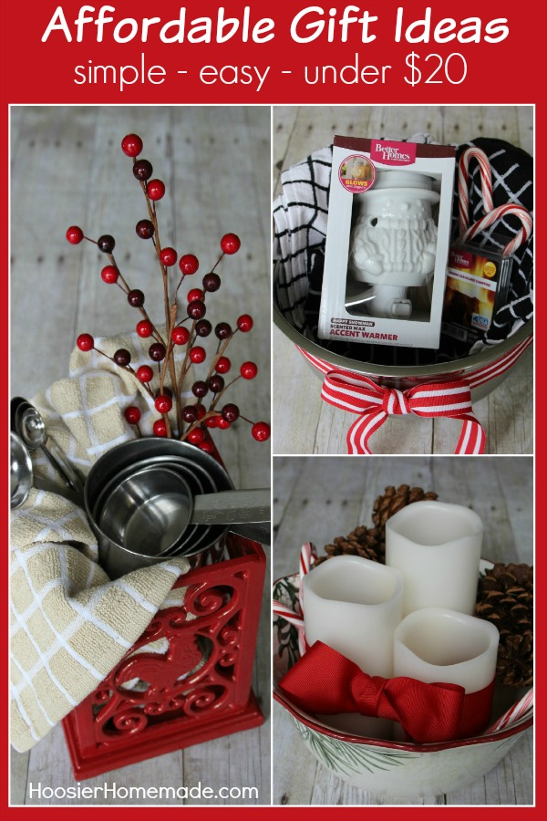 Gift one of these Affordable Gift Ideas for under $20! Put together one of these baskets in minutes and stay on budget. Pin to your Christmas Board!