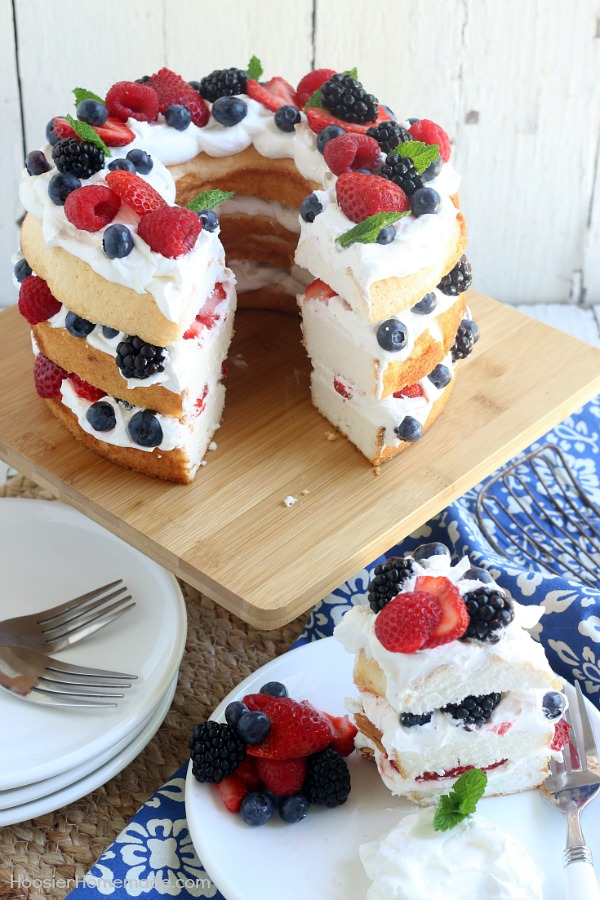 Angel food cake with berries hoosier homemade this showstopping angel food cake with berries takes only 15 minutes to put together wow forumfinder Choice Image