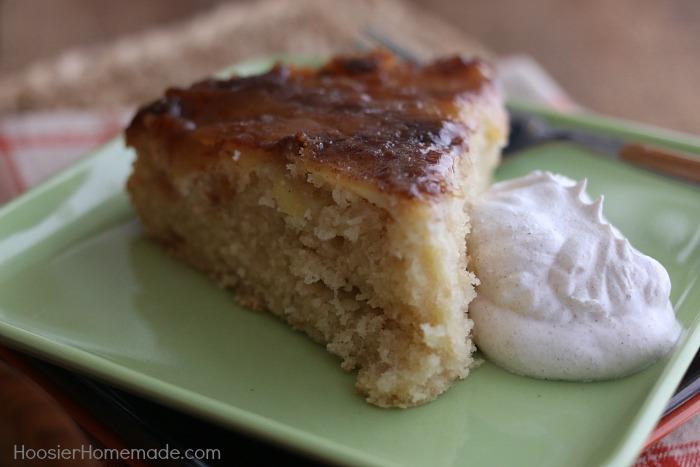 Apple Cinnamon Upside Down Cake served with Cinnamon Whip Cream