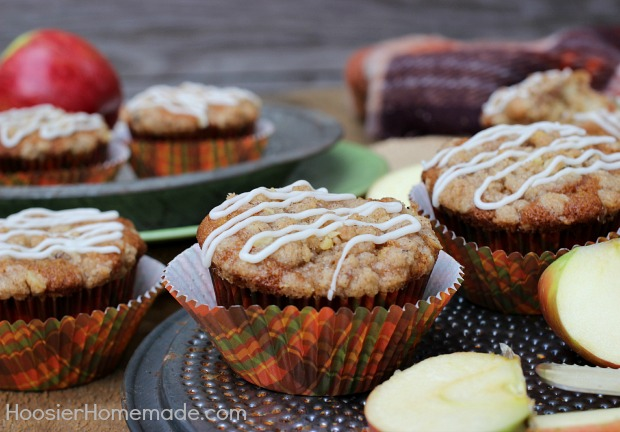 Apple Crumble Cupcakes :: Recipe on HoosierHomemade.com