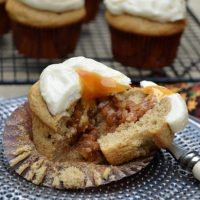 Apple Stuffed Cinnamon Cupcakes with Caramel Frosting