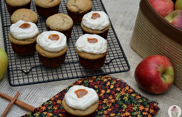 Apple Stuffed Cinnamon Cupcakes with Caramel Frosting :: HoosierHomemade.com