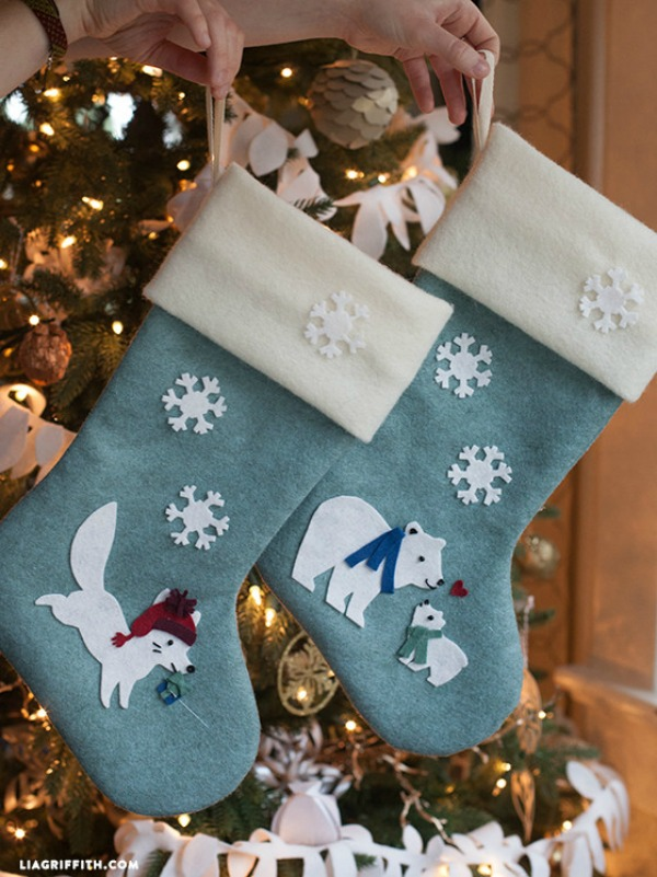 These adorable DIY Felt Christmas Stockings are the perfect addition to your Christmas decorating! Visit our 100 Days of Homemade Holiday Inspiration for more recipes, decorating ideas, crafts, homemade gift ideas and much more!