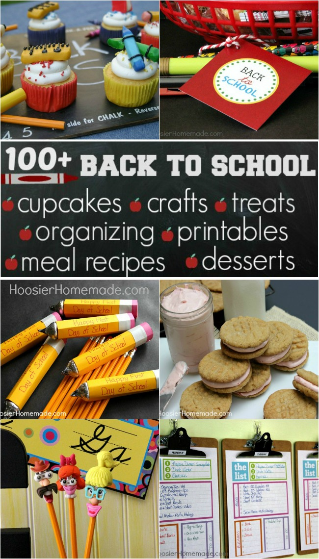 100+ Back to School Ideas | Cupcakes, Crafts, Organizing, Recipes, and more! on HoosierHomemade.com