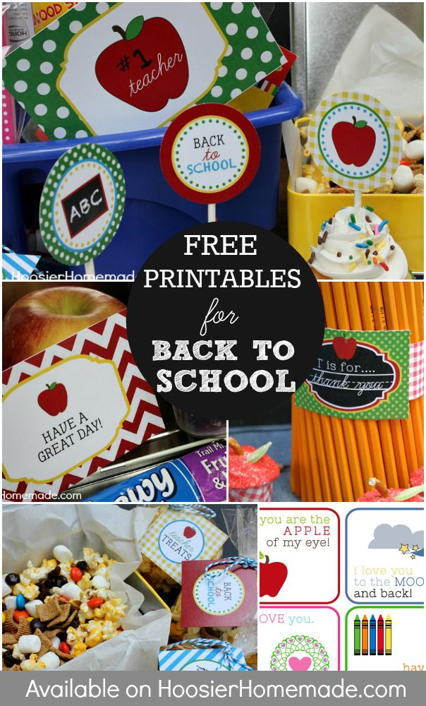 Cupcake Toppers, Lunch Box Notes, Teacher Thank You Notes, and more are all part of these FREE Printables for Back to School! Click on the Photo to grab your printables!