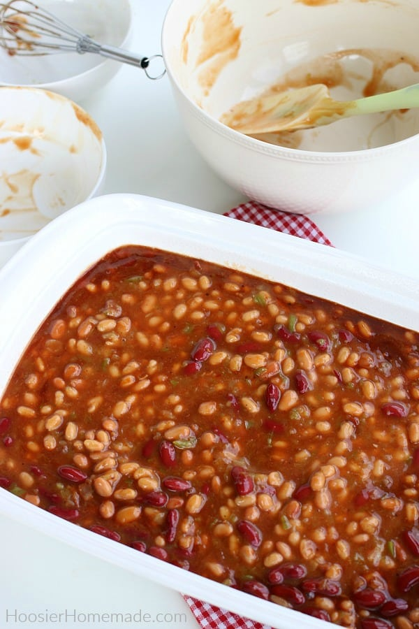 Baked Beans in pan ready for oven
