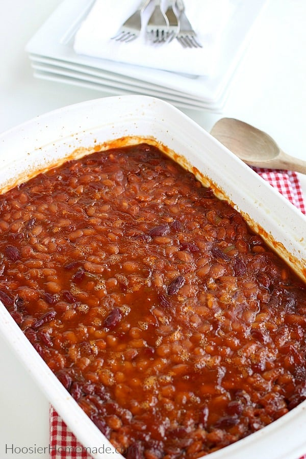 Baked Beans in white pan