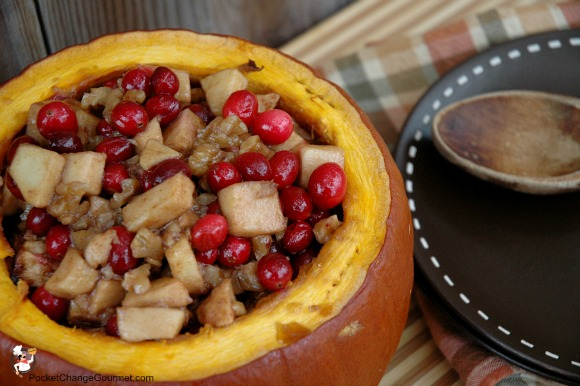 Baked Pumpkin with Apples, Cranberries and Walnuts