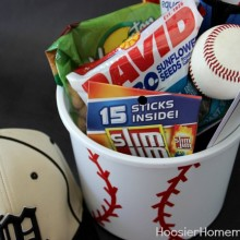 Sports Themed Gift Bucket | Details on HoosierHomemade.com