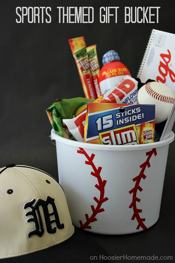 Personalize your gift giving with this Sports Themed Gift Bucket! Perfect for Father's Day, Birthdays, even a gift for the coach! Click on the photo to grab the instructions!