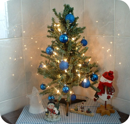 cool in our bathroom we have a small tree with white with small white christmas tree - Small Blue Christmas Tree