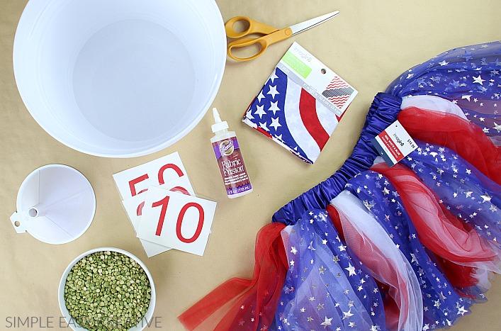 Supplies to make Bean Bag Toss Game