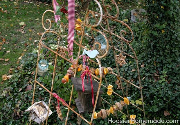 Vintage Recycled Bird Feeding Station :: HoosierHomemade.com