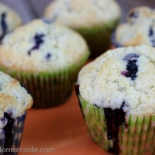 Light Blueberry Muffins | Recipe on HoosierHomemade.com