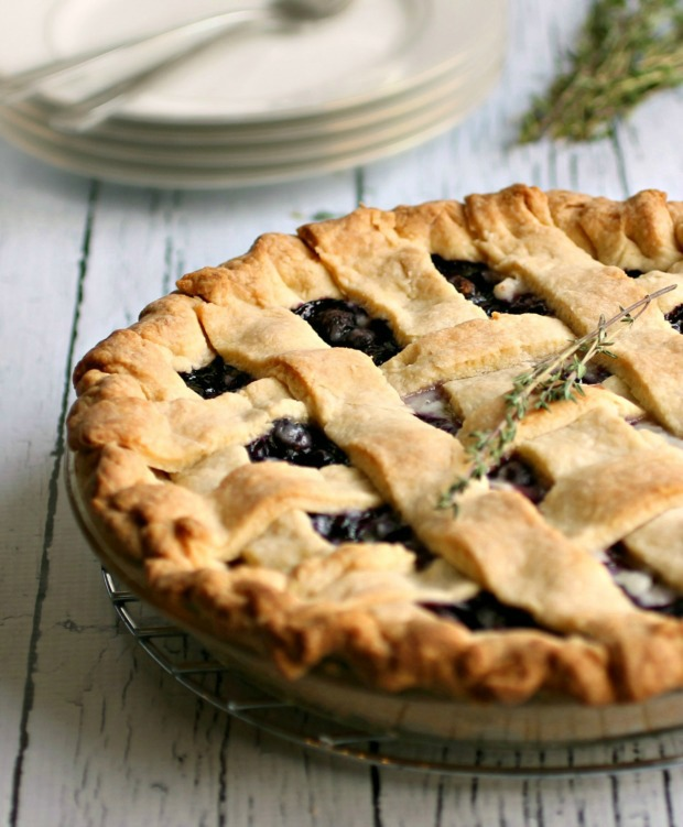 Blueberry Pie with Thyme and Lemon | Recipe on HoosierHomemade.com