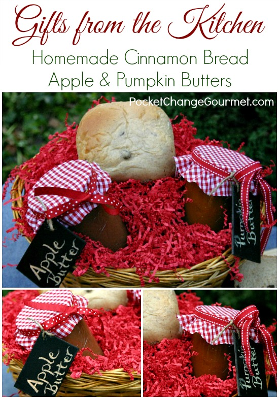 Everyone loves receiving a Gift from the Kitchen! Fill a basket with Bread, Apple and Pumpkin Butters for a memorable Christmas gift! Pin this idea to your Christmas board!