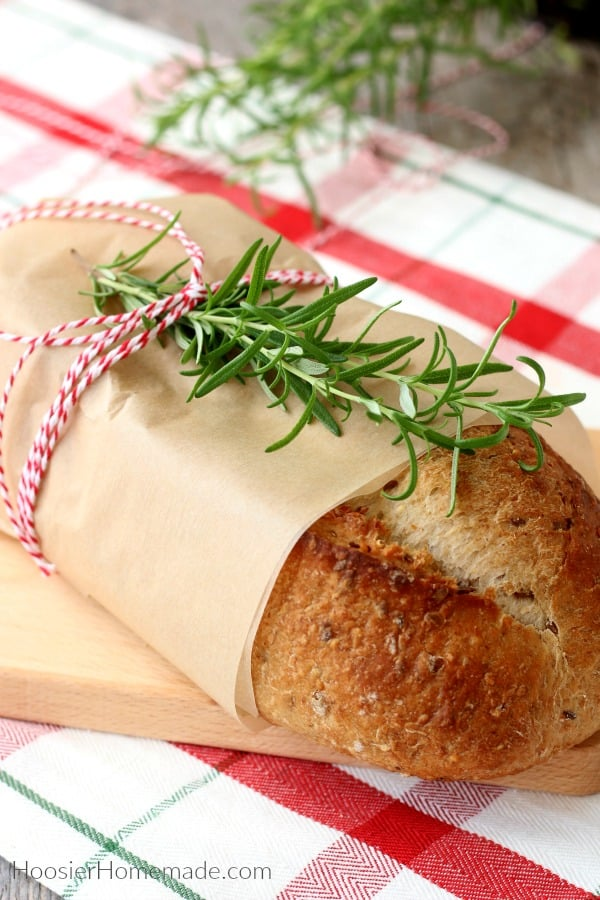 Bread wrapped in brown parchment paper for gift