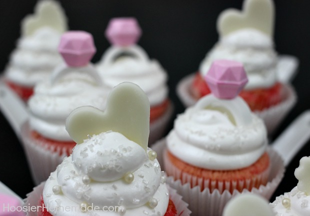 Bridal Shower Cupcakes | Strawberry Cupcakes with Marshmallow Frosting | Recipe on HoosierHomemade.com