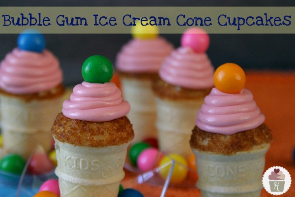 Ice Cream Cone Cupcakes With Bubble Gum Frosting