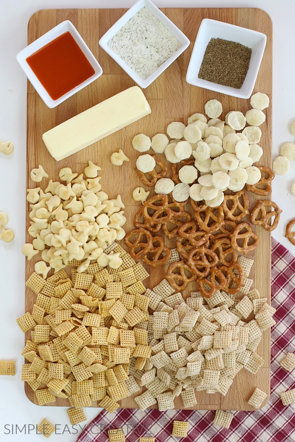 Ingredients for Buffalo Ranch Snack Mix