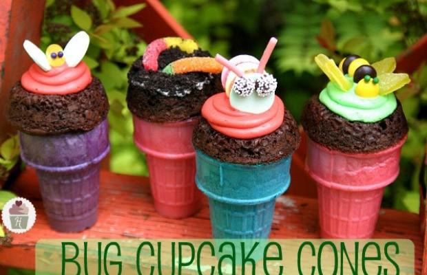 Bug Cupcake Cones for Earth Day :: Recipe on HoosierHomemade.com