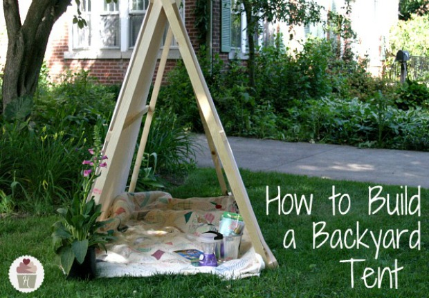 How to Build a Backyard Tent on HoosierHomemade.com