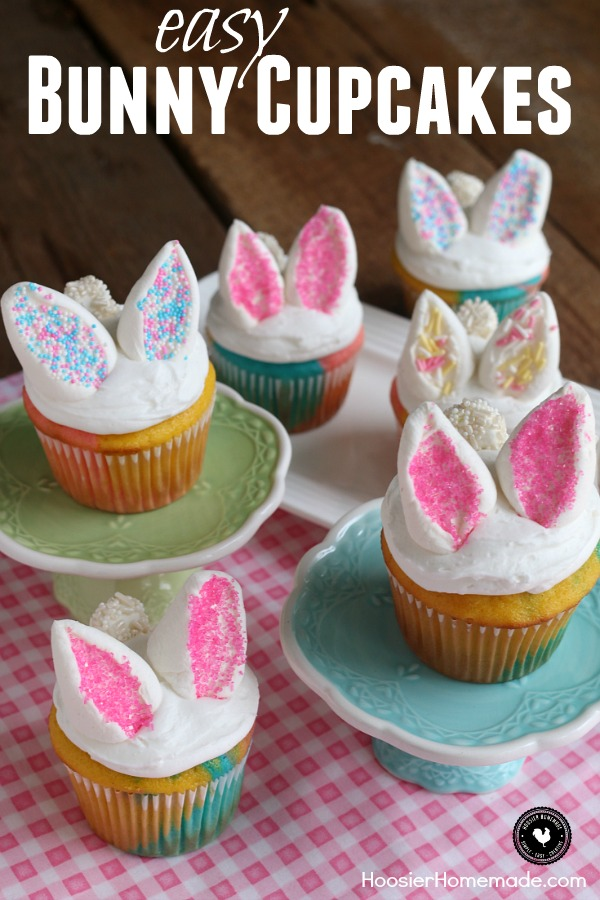 Cupcake Decorating Ideas With Marshmallows : Easy Bunny Cupcakes - Hoosier Homemade