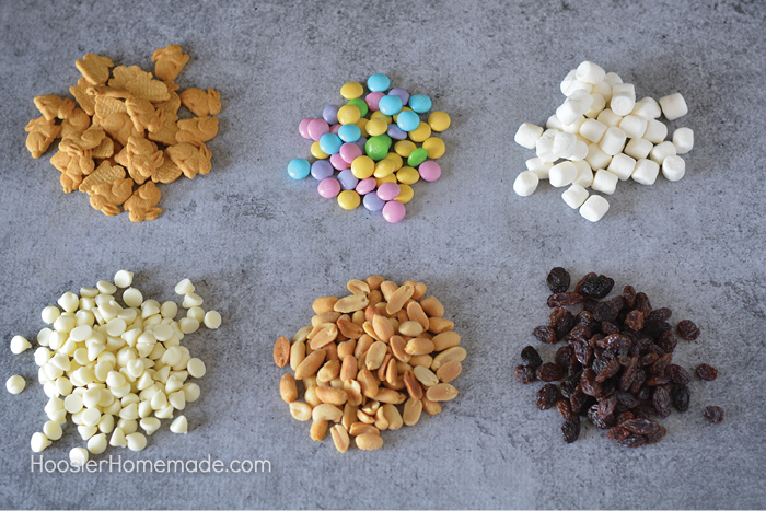 Ingredients to make snack mix