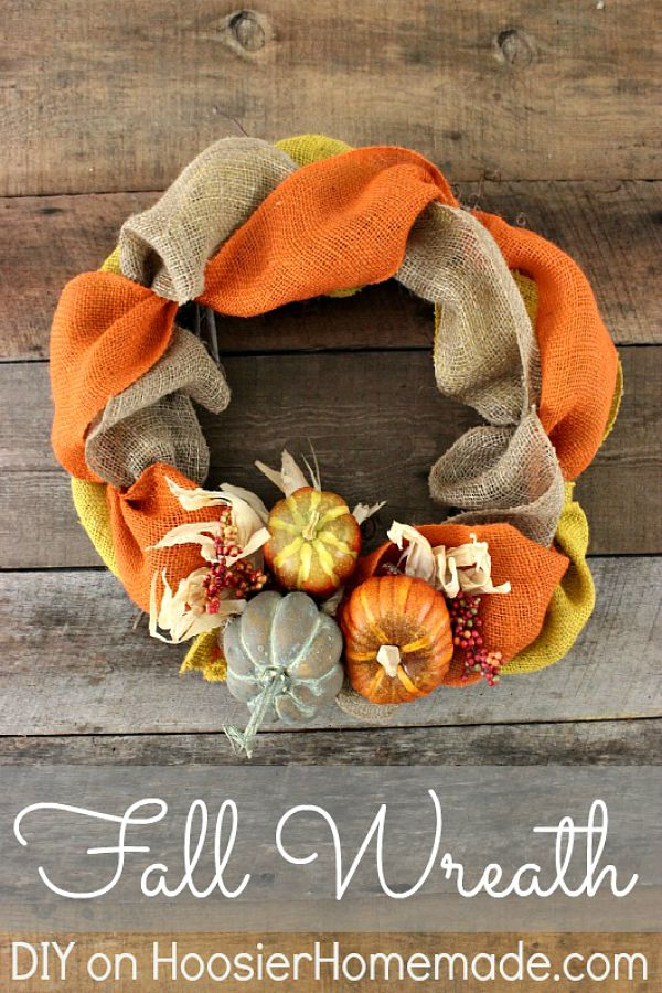 DIY FALL WREATH -- ThIS Fall Wreath takes minutes to make with just a few supplies! Brighten up your front door or inside your home with this easy to make wreath!